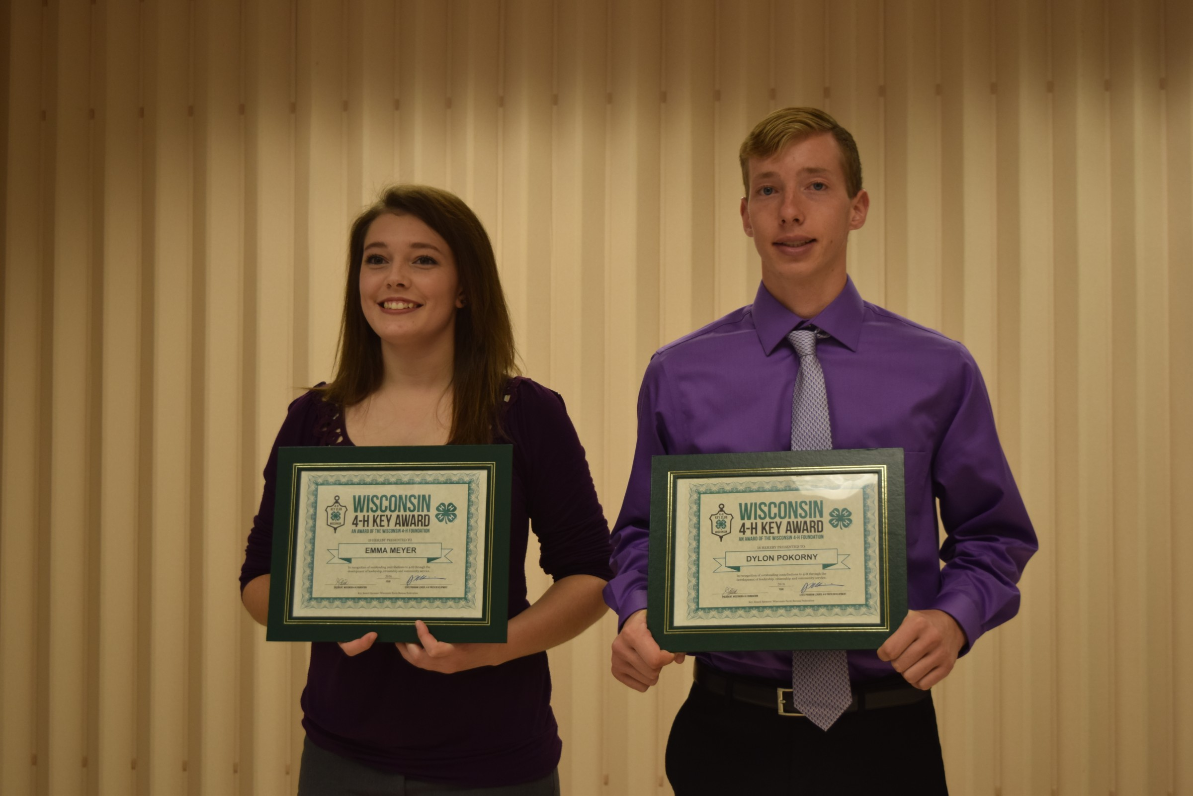 Two of the Wisconsin 4-H Key Award recipients, Emma Meyer and Dylon Pokorny